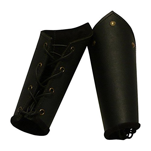 NAUTICALMART Knights Leather Battle Arm Bracers Armour Black One Size ()