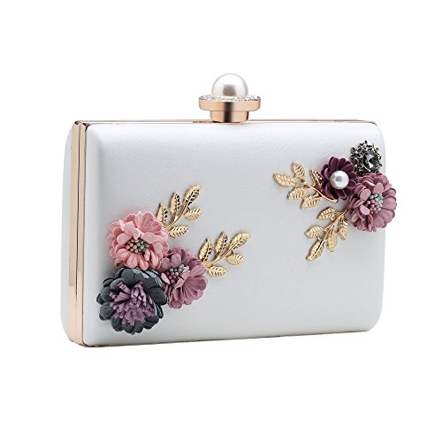 BABEYOND Flower Clutch Handbag Floral Evening Bags and Clutchs with Detachable Strap Floral Clutch Handbag Pearl for Evening (White Patent Bag)