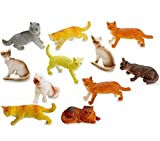 Kicko Miniature Authentic Cat Figurines Toys - 12 Assorted , 2 Inch - for Kids, Boys, Girls, Cat Lovers, Play, Decoration, Gifts, and Party Favors
