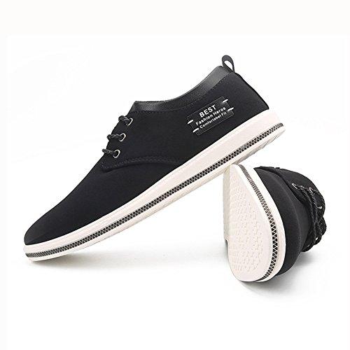 YIXINY Schuhe Männer Freizeitschuhe Plate Schuhe Stoffschuhe Krawatte Schwarz / Dunkelblau ( Farbe : Schwarz , größe : EU41/UK7.5-8/CN42 )