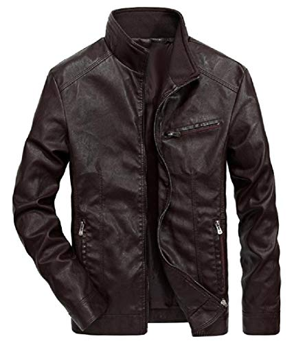 EnergyMen Motorcycle Stand Collar Fleece Lined Leather Trench Coat Coffee