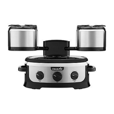 Crock-Pot Entertaining Tower Slow Cooker in Silver | Arms Fold in for Easy Storage