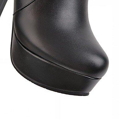 Heart&M Damen Schuhe Kunstleder Frühling Winter Modische Stiefel Stiefel Blockabsatz Runde Zehe Booties Stiefeletten Reißverschluss Für Normal almond