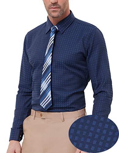 PAUL JONES Men's Slim Fit Gingham Shirt Long Sleeve Dress Shirt Navy (Gingham Dress Navy)