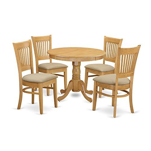East West Furniture ANVA5-OAK-C 5 Piece Dining Table and 4 Chairs Set