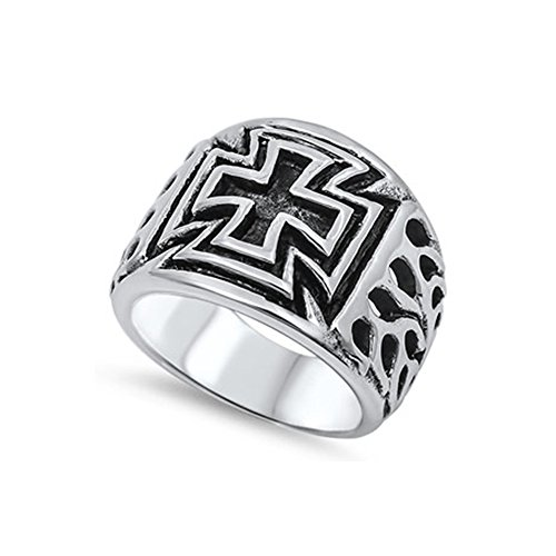 Noureda Stainless Steel Maltese Cross Design Decorated Band Ring with Face Width of 17MM