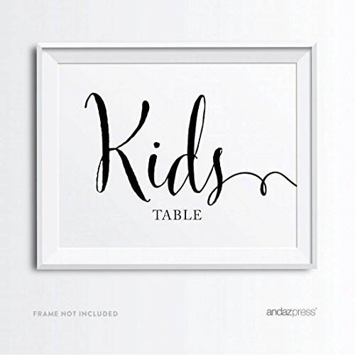 (Andaz Press Wedding Party Signs, Formal Black and White Print, 8.5x11-inch, Kids Table Sign, 1-Pack, for Company Holiday Parties, Easter)
