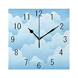 GULTMEE Square Wall Clock Home Decorative, Digital Design Consecutive Segments Lamellar Look of Cumulus Cloud Pattern, 7.8x7.8