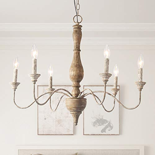 Country Style Chandelier (LNC Chandelier, Distressed Wood & Rusted Iron 6-Light Pendant Lighting, French Country Style)