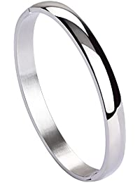 Womens Mens Stainless Steel Brecelet Plain Polished Finish Cuff Bangle 7.3 Inches