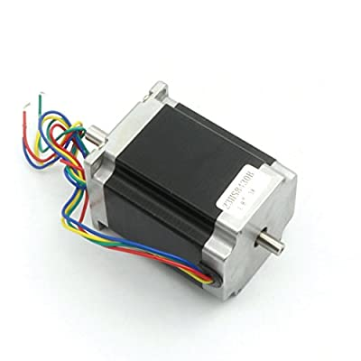 Nema23 Stepper Motor 76mm Dual Shaft 3A 270oz-in 4 Lead Wire for CNC Router Engraving Milling/3D Printer