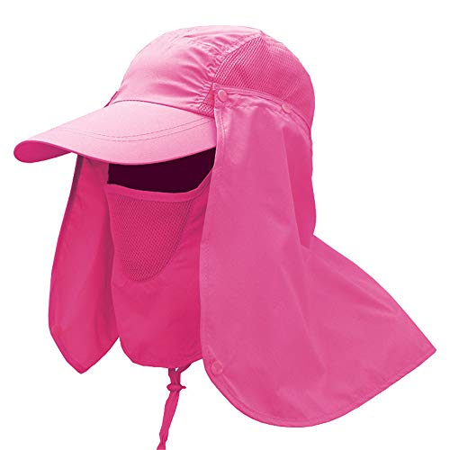 (Women's Summer Sun Hats with Ponytail Hole, Fishing Cap with Removable Ear Neck Flap Cover Mesh, Anti Sun Cap with Neck Shoulder Face Protection for Fishing, Boating Outdoor Activity by elecfan - Red)