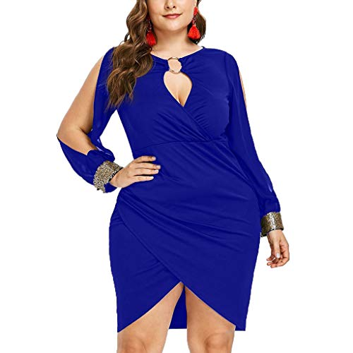B2keevin Women Fashion Long Sleeve Sequin Plus Size Keyhole Neck Ring Slit Bodycon Dress Blue
