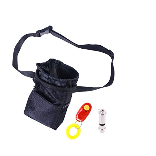 POPETPOP Dog Training Treat Pouch Pet Training Waist Bag Dog Treat Snack Food Pouch with Belt Pothook Clicker and Whistle for Pet Dogs Puppy (Black) by POPETPOP