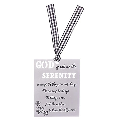 - Serenity Prayer Cutout Design Silver & Gingham Ribbon 2.5 x 3.25 Metal Bookmark