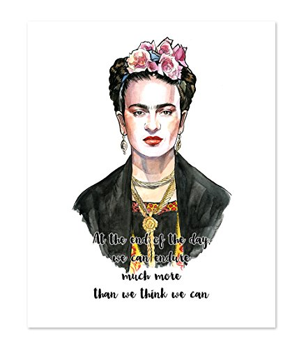 AtoZStudio A80 Frida Kahlo Inspired Wall Art Home Decor - Quotes Print Poster Feminism Motivational Women Gift - Watercolor Portrait Painting 11x14