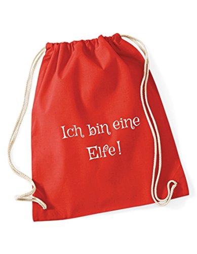 Turnbeutel bedruckt / Rucksack / Sportbeutel mit Sprüchen / Gymsack / Gymbag mit Spruch Ich bin eine Elfe von 3 Elfen - Hipster Beutel Bag - rot rot uPpw1a6