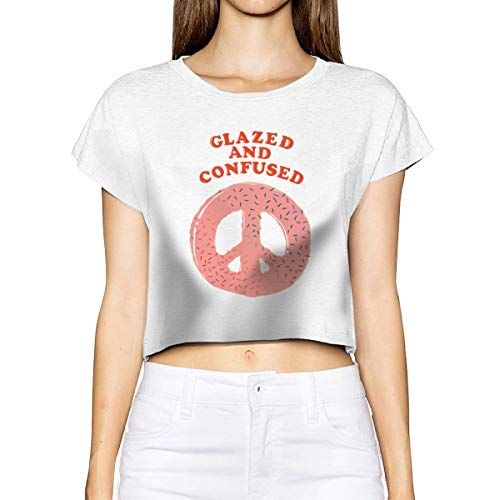 Shenigon Glazed and Confused Top T-Shirts Dew Navel Shirt White ()