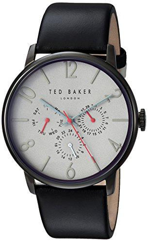 Ted Baker Men's 'James' Quartz Stainless Steel and Leather Casual Watch, Color Black (Model: TE1506602)