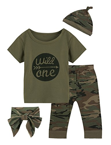 Baby Boys Girls Outfit Long Set 2PCS Camouflage Letter Print Shirt with Pants (Wild One Short Camouflage, 6-12 Months)