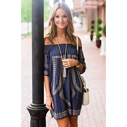 Womens Bohemian Vibe Geometric Print Off The Shoulder Beach Dress Vintage Tunic Blouse Tops (Navy Blue)