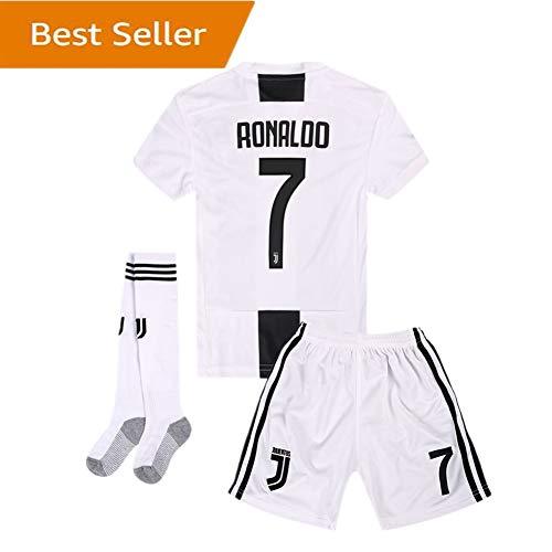Yanfirstfc Juventus Home #7 Ronaldo 2018-2019 Kids/Youth White Soccer Jersey & Shorts & Socks