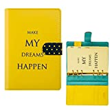 Travel Diary Ring Binder Notebook A6 PU Leather Office Hardcover Gifts Personal Diary,Yellow
