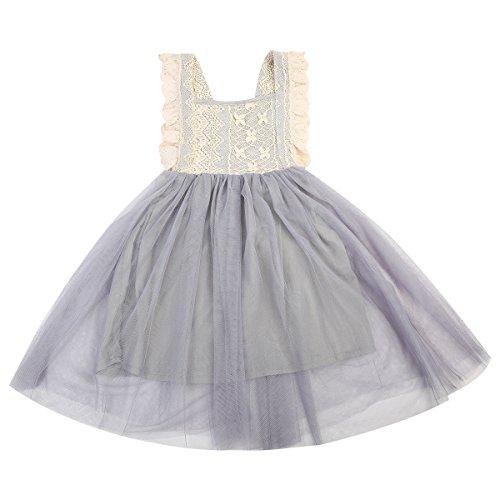 Knot Slip - Kids Girls Princess Backless Bow-Knot Lace Tutu Slip Dress Sleeveless Skirt (5-6Year, Grey)