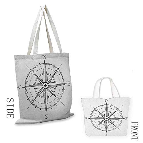 Multipurpose canvas bag Compass Hand Drawn Compass Windrose North and South East West Directions Black and White Washable tote 16.5