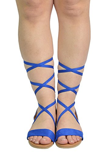Paio Di Scarpe Da Donna Formosa_3 Zeppe Basse Basse A Metà Polpaccio Fermasoldi 3-blu Royal
