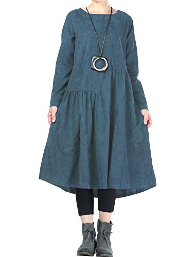 Mordenmiss Womens Corduroy Pleated Dresses Swing Long Sleeve Dress with Pockets (2XL, Jean-Blue)