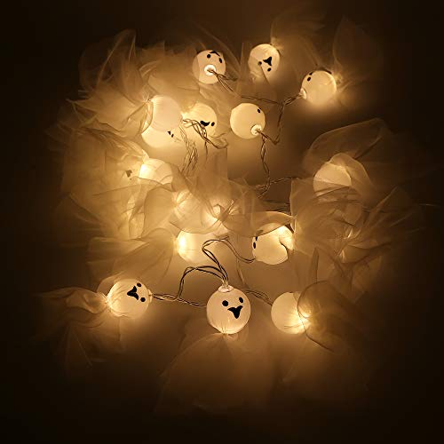 eccbox Halloween Christmas Decorations Battery Operated LED Fairy String Lights,20 LED Lights Patio Lawn Garden Party Holiday Decorations (Cloth Ghost Lights, Warm White)