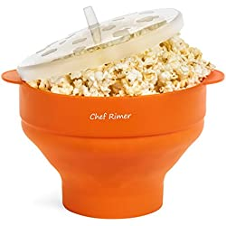 Chef Rimer Microwave Popcorn Popper Sturdy Convenient Handles Healthy No Oil Silicone Orange Collapsible Hot Air Movie Theater Aroma Great Popcorn Maker Machine.BPA PVC Free With Lid