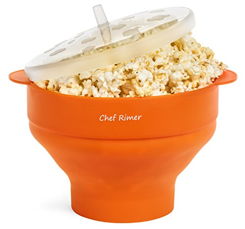 Chef Rimer Microwave Popcorn Popper Sturdy Convenient Handles Healthy No Oil Silicone Orange Collapsible Hot Air Movie Theater Aroma Great Popcorn Maker Machine.BPA PVC Free With ()