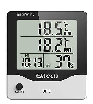 ellitech BT-3 Digital LCD Termómetro Higrómetro Temperatura Humedad Interior Exterior Termómetro