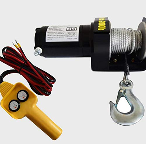Awsgtdrtg ATV Motor 2000lbs Cabrestante eléctrico Cable de tracción Winch Cable de tracción Cable de tracción Kit...