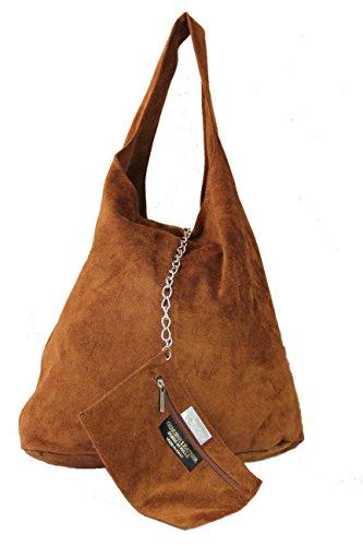 Schultertasche Henkeltasche Handtasche Damentasche Beuteltasche schwarz Wildleder taupe