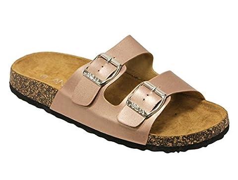 Womens Light Weight Cork Platform Double Buckles Slide Sandal Rosegold Color Size 9 - Cork Platform Sandals