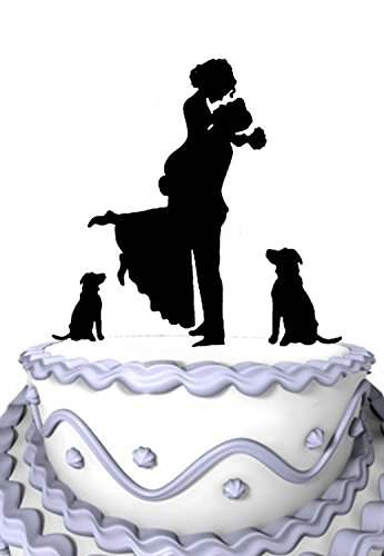 Meijiafei Bride and Groom Hug Silhouette with 2 Dog Mr and Mrs Cake Decoration