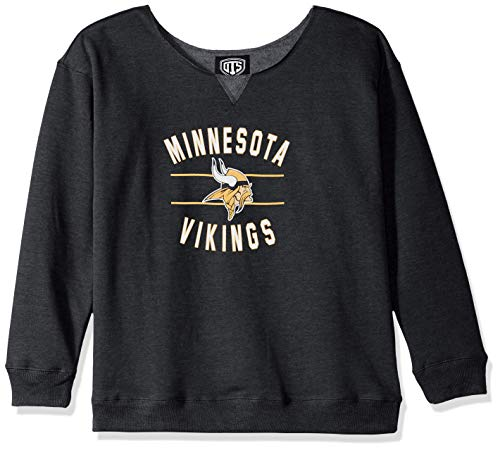 NFL Minnesota Vikings Female OTS Singleback Fleece Pullover, Jet Black, Large