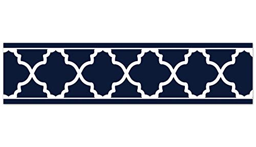 Sweet Jojo Designs Trellis Print Modern Lattice Wallpaper Wall Border for Navy and White Trellis Collection ()