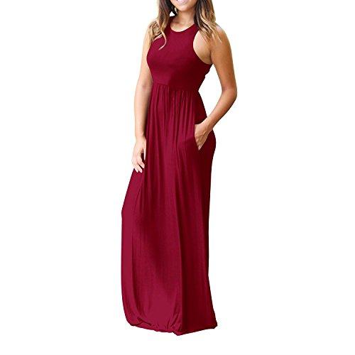 Delle Oscillazione Irregolare Il Bordo Allentato Estate Casuale Vestito Lungo Maxi Donne Donne Vestito Per Winered Sleeveless xq0nqW7TF