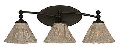 "Toltec Lighting 593-DG-7195 Capri 3 Light Bath Bar with 7"" Italian Ice Glass, Dark Granite Finish"