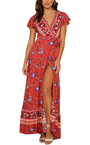 (ZESICA Women's Bohemian Floral Printed Wrap V Neck Short Sleeve Split Beach Party Maxi Dress Red)