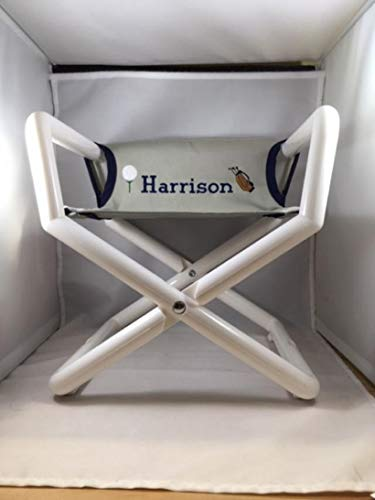 Hoohobbers Personalized Grey Blue Canvas Golf Themed Kids Directors Chair - Embroidered - Personalized (email us The Name of Your Choice)