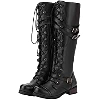 Military Combat Women,Lace ups Straps Boots Steampunk Gothic Retro Punk Buckle Boots