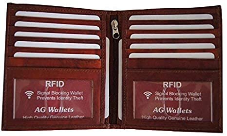 39f6e464049a Men's RFID Bifold Wallet - Cowhide Leather, European Hipster, Two ID, BD