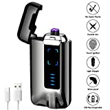 USB Electric Lighter, KIMILAR Windproof Lighter Rechargeable Micro-USB Interface Plasma Electric Dual Arc Flameless Lighter with Battery Indicator for Candle Fireworks etc.