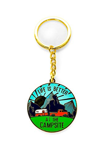 Camco Life is Better at The Campsite Sunrise Keychain-Gold Ring for Car Fobs and Keys (53289) (Camper Keychain)
