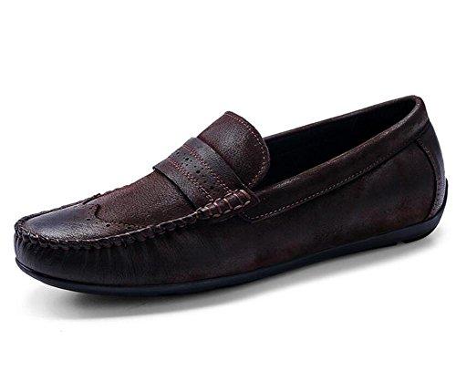 barca e pelle che Coffee casual 44 Black da To Slip eleganti 38 Size Coffee On Scarpe uomo vera da mocassini in guidano XwzBPIq